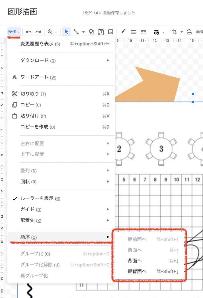 Googleスプレッドシート 図形の最前面 最背面への移動