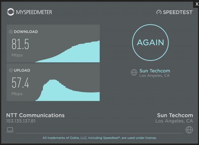アメリカ ロサンゼルスとのインターネット スピードテスト