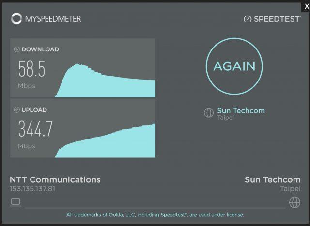 台北とのインターネット接続 スピードテスト