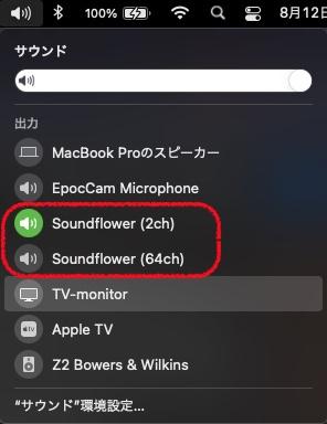 MacのスピーカーSoundflowerに